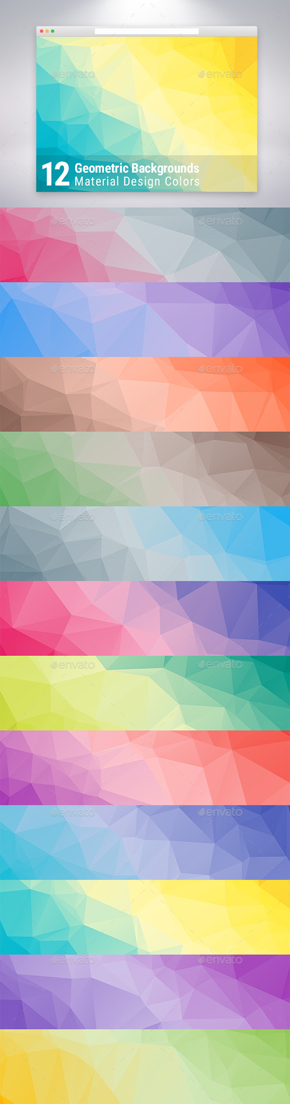 Material Design Geometric Backgrounds x12 - Abstract Backgrounds