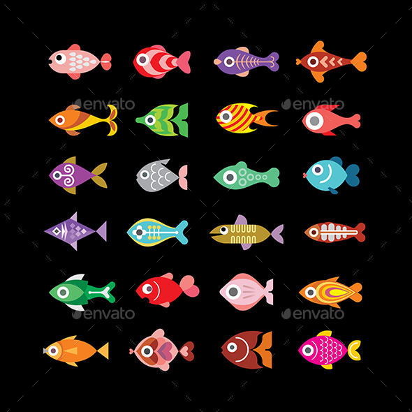 Fish Icons on Black - Animals Characters