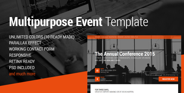 Event Conference Event HTML Landing Page By Magethemes - Event landing page template free