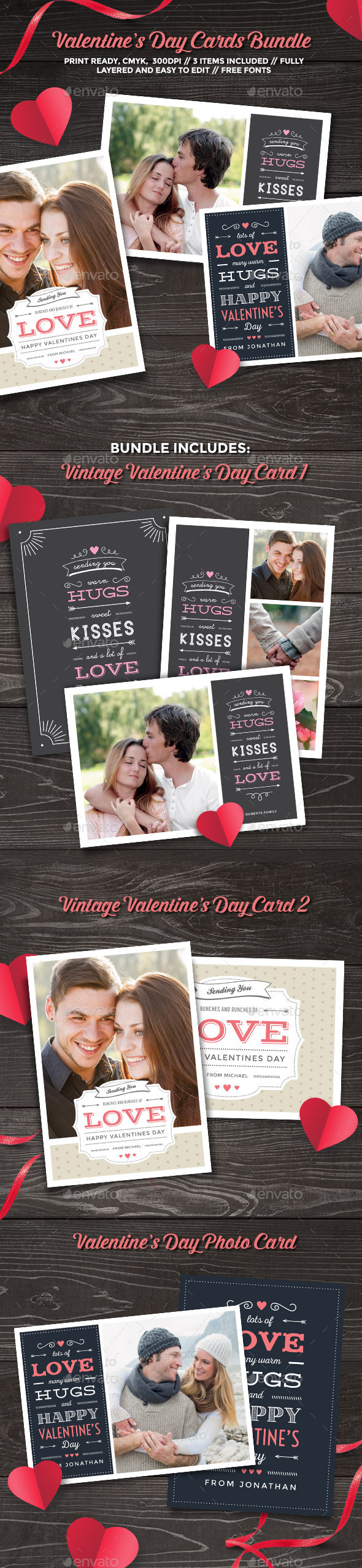 Valentine's Day Cards Bundle - Greeting Cards Cards & Invites