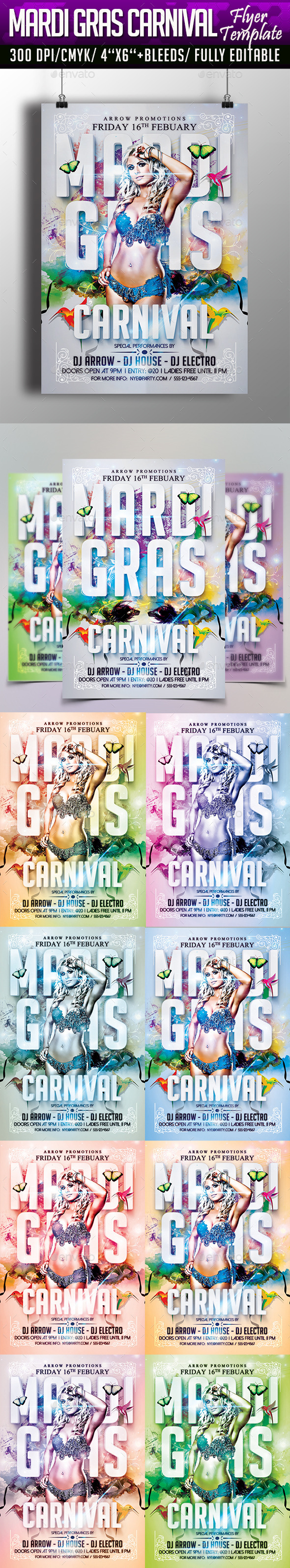 Mardi Gras Carnival Flyer Template - Clubs & Parties Events