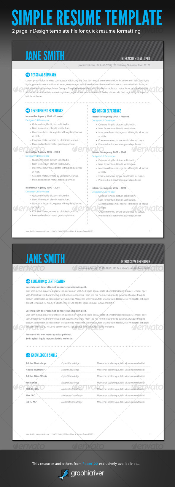 Simple Resume - InDesign Template - Resumes Stationery
