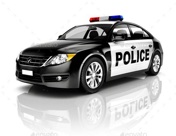 Side View Studio Shot Of Black Sedan Police Car - Stock Photo - Images