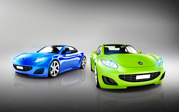 Two Elegant Multicolored Modern Cars - Stock Photo - Images