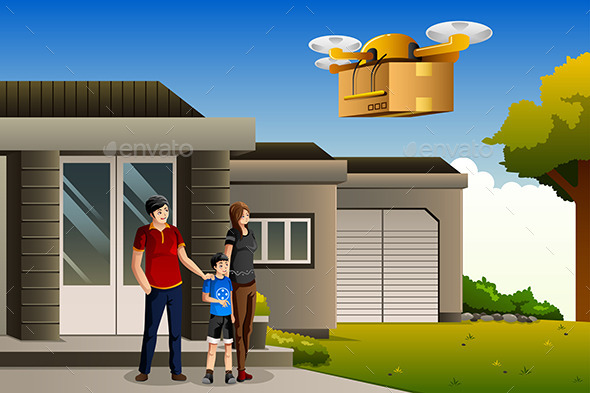 Family Expecting a Drone Package Delivery - Commercial / Shopping Conceptual