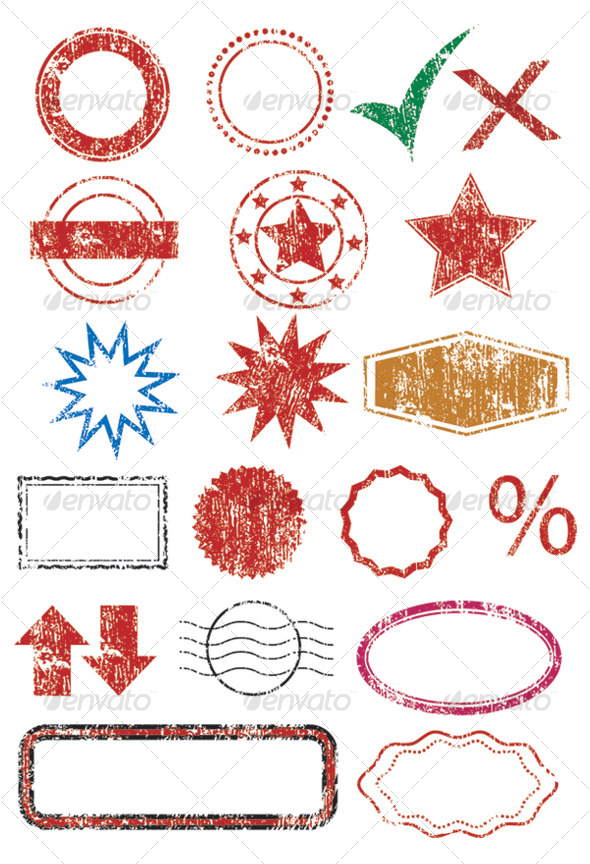 Vector Stamps, borders and shapes - Decorative Vectors