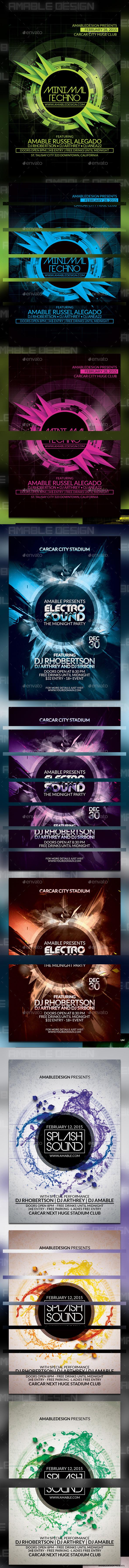 3 PSD Party Sound Flyer Bundle - Clubs & Parties Events