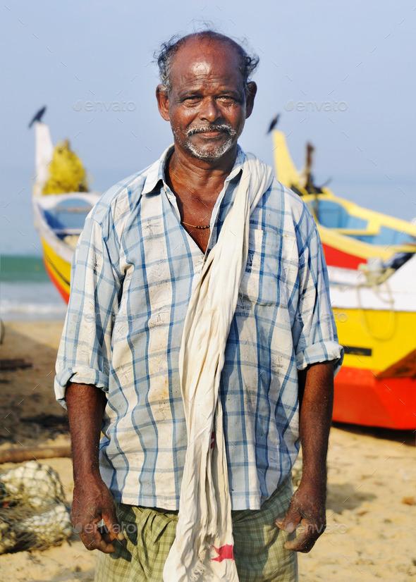 Indian Fisherman, Kerela, India - Stock Photo - Images