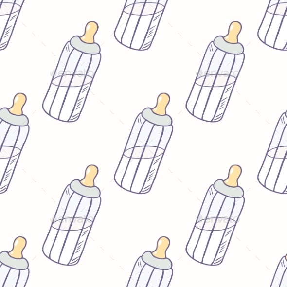 Bottle of Milk Seamless Pattern - Backgrounds Decorative
