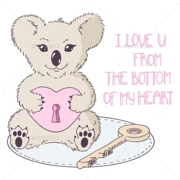 Koala with Heart and Key - Valentines Seasons/Holidays