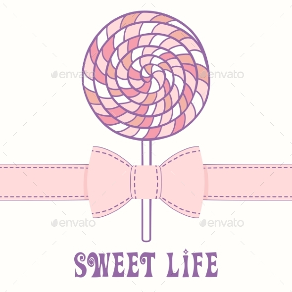 Pink Lollipop with Ribbon - Food Objects