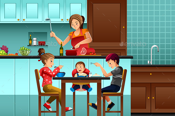 Busy Mother in the Kitchen with Her Kids - People Characters