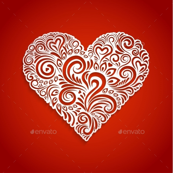 Abstract Floral Heart Background - Valentines Seasons/Holidays