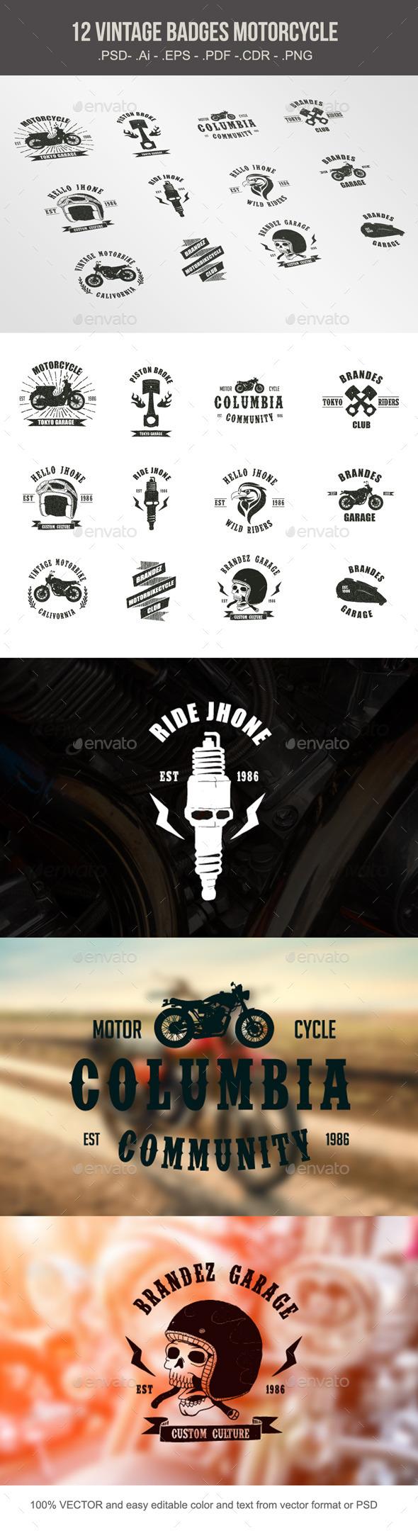 Vintage Badges Motorcycle - Decorative Symbols Decorative