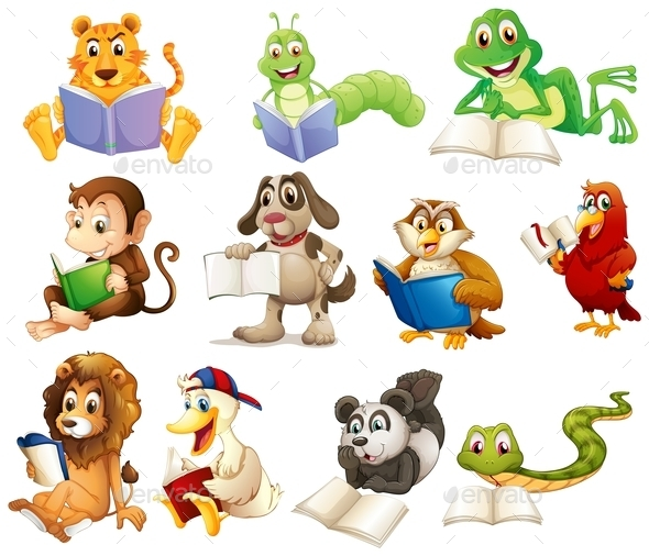 Group of Animals Reading - Animals Characters