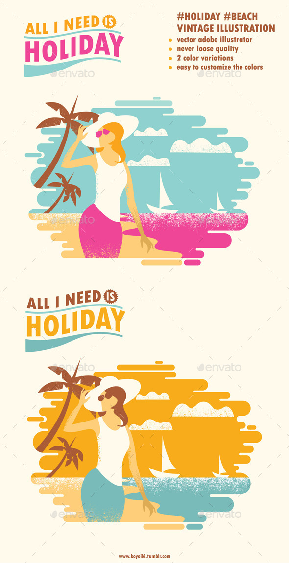 Holiday Beach Illustration - Seasons/Holidays Conceptual