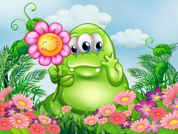 Green Monster in the Garden - Monsters Characters