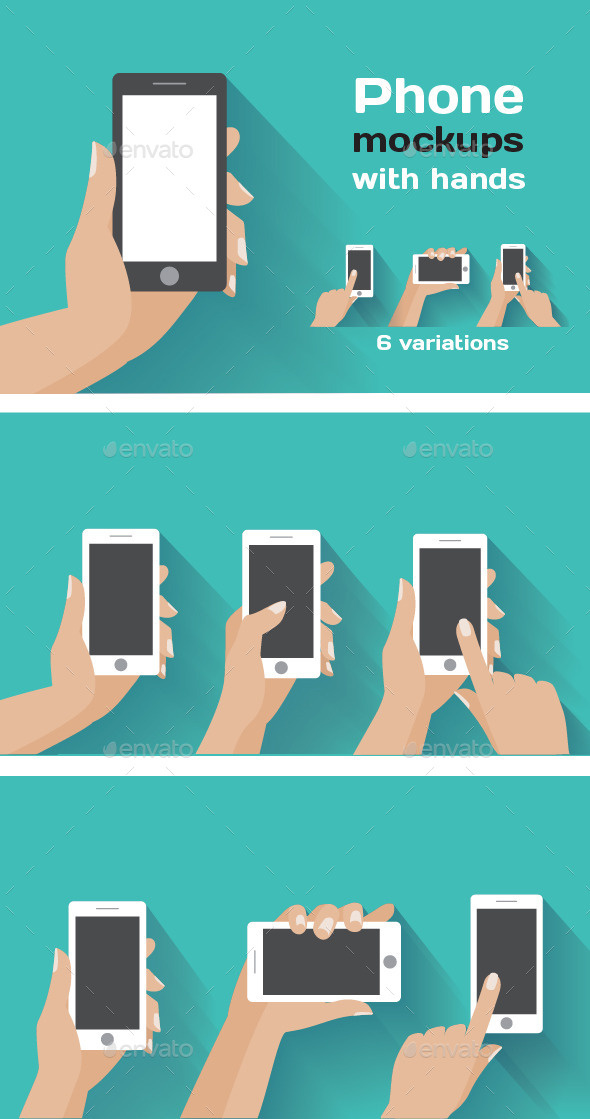 Smartphone Mockups with Hands - Computers Technology