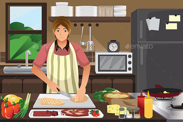 Man Cooking in the Kitchen - People Characters
