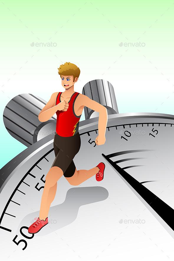 Man Running on Stopwatch - Conceptual Vectors