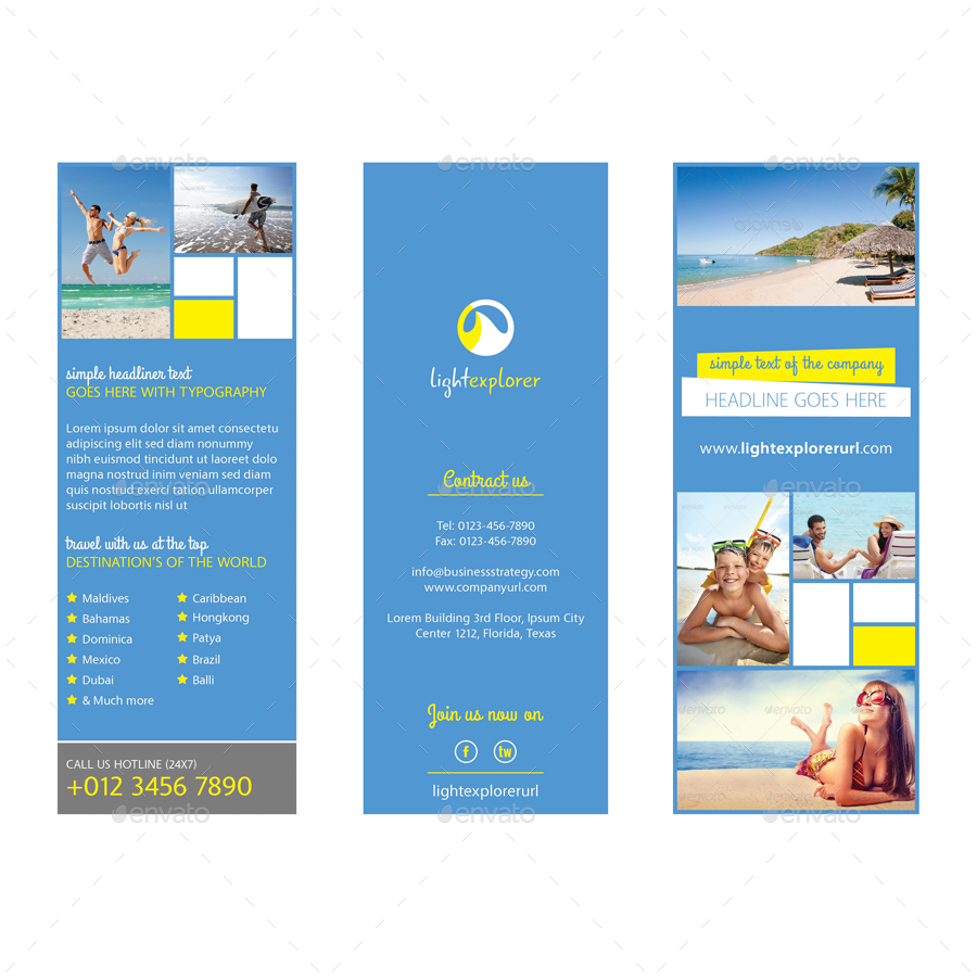 Travel agency tri fold brochure vol 3 by samiul75 for Travel agency brochure template