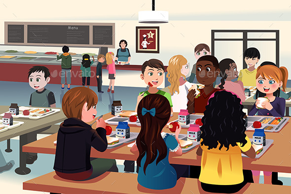 School Cafeteria  - People Characters