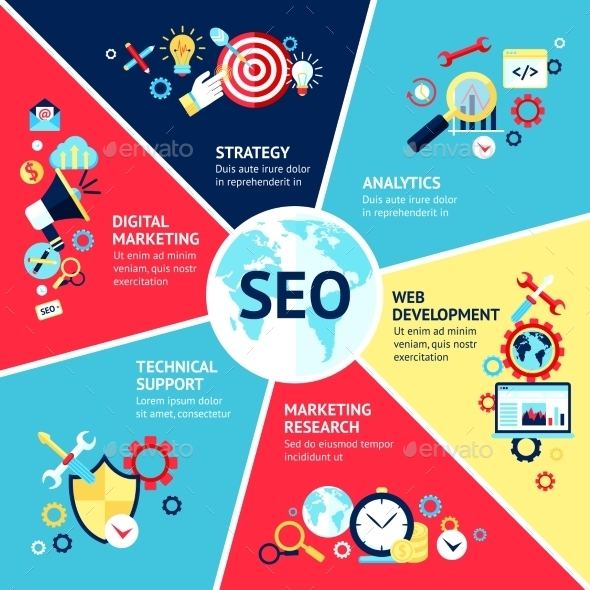 Seo Infographic Set - Technology Conceptual