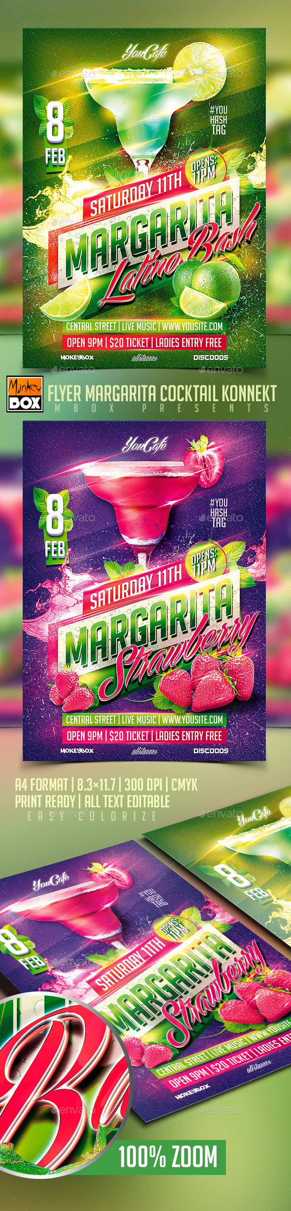 Flyer Margarita Cocktail Konnekt - Flyers Print Templates