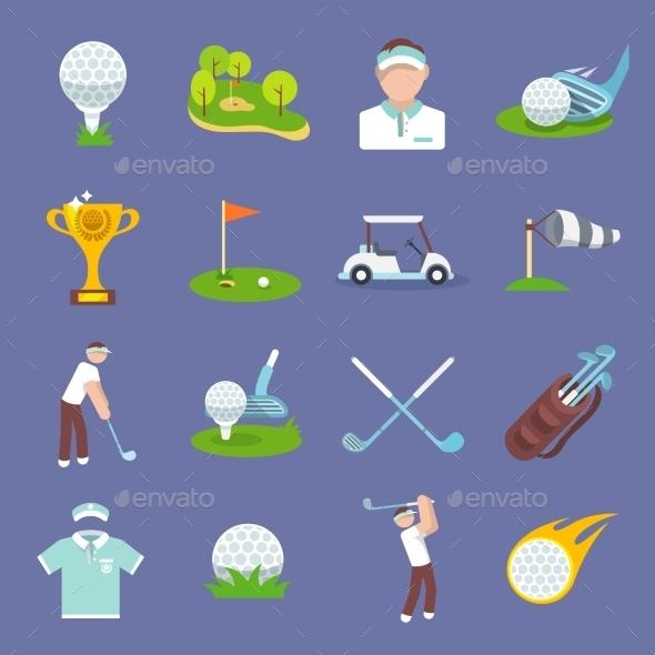 Golf Icon Flat - Sports/Activity Conceptual