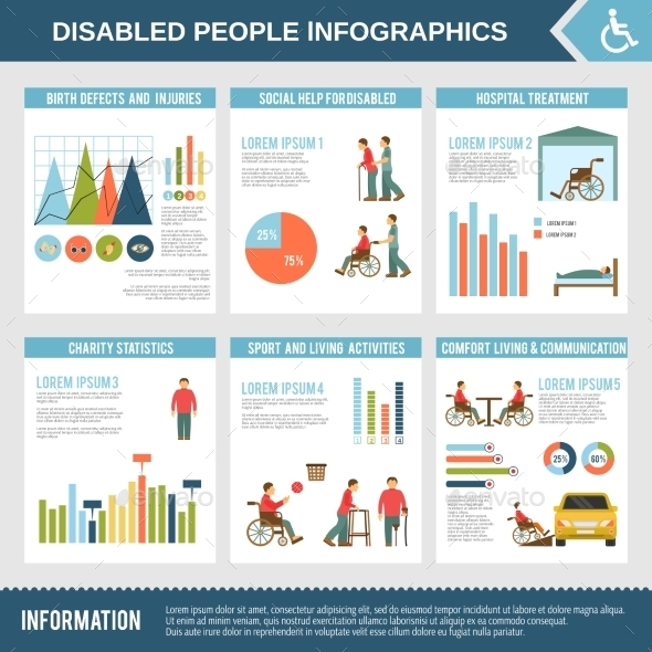 Disabled Infographics Set - Health/Medicine Conceptual