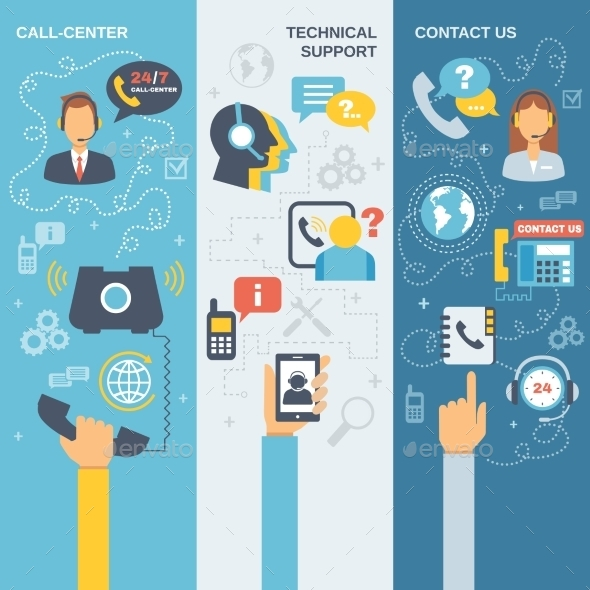 Support Call Center Banner - Business Conceptual