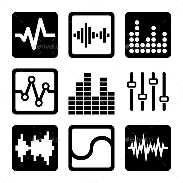 Soundwave Music Icons Set on White Background - Technology Icons