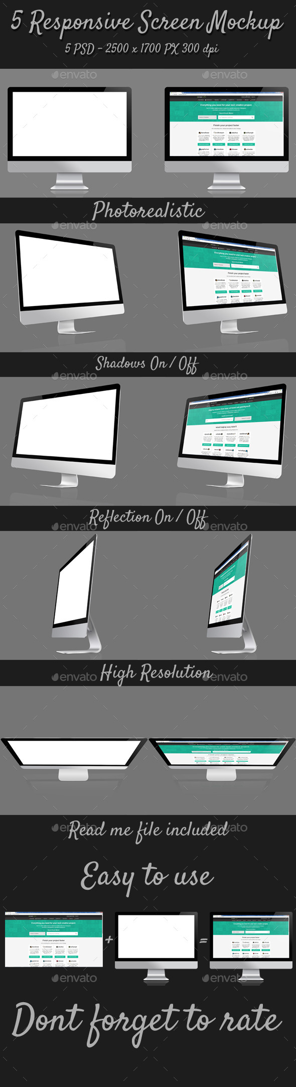 5 Responsive Screen Mockup - Monitors Displays