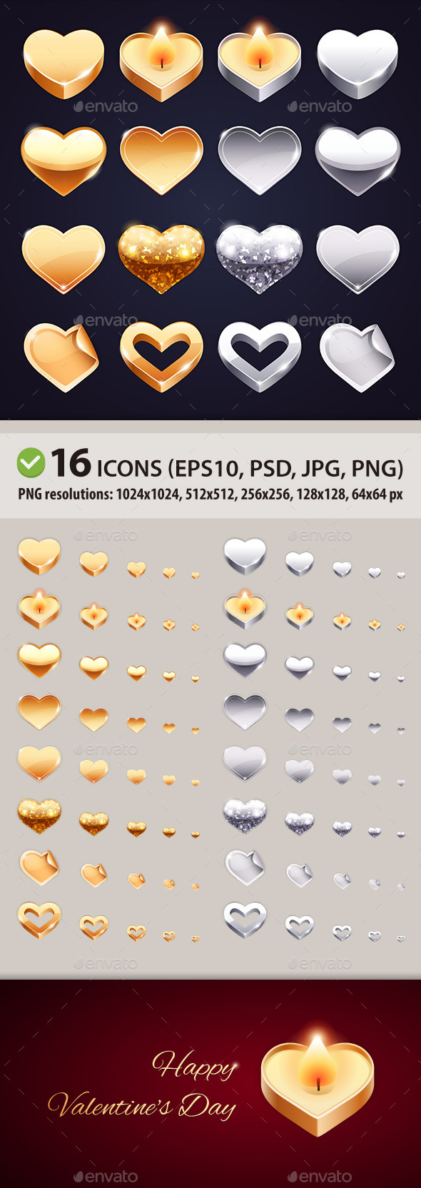 Set of Vector Golden and Silver Hearts - Valentines Seasons/Holidays