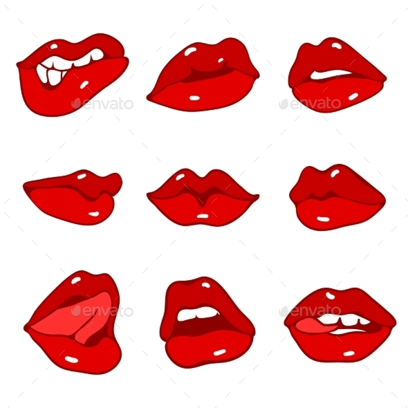 Set of Red Lips - People Characters