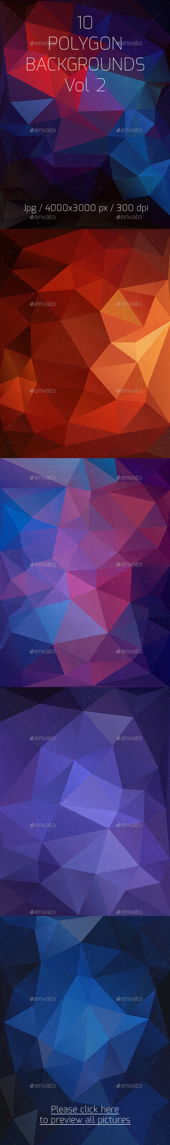 10 Polygon Backgrounds Vol 2 - Abstract Backgrounds