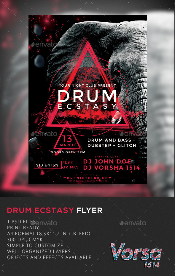 Drum Ecstasy Flyer - Clubs & Parties Events