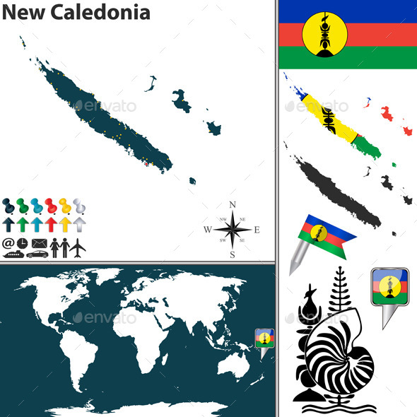 Map of New Caledonia - Travel Conceptual