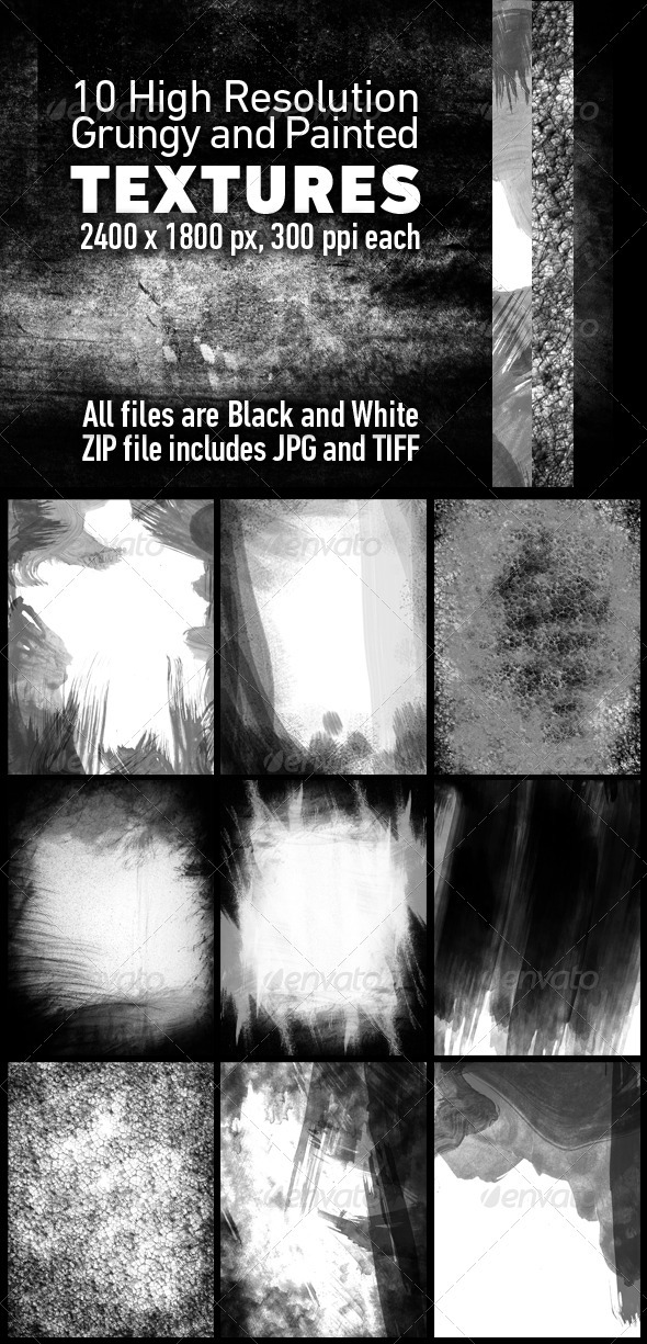 10 Grunge Textures in Black and White - Industrial / Grunge Textures