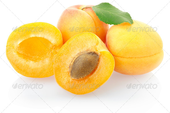 Apricot fruit with leaf - Stock Photo - Images