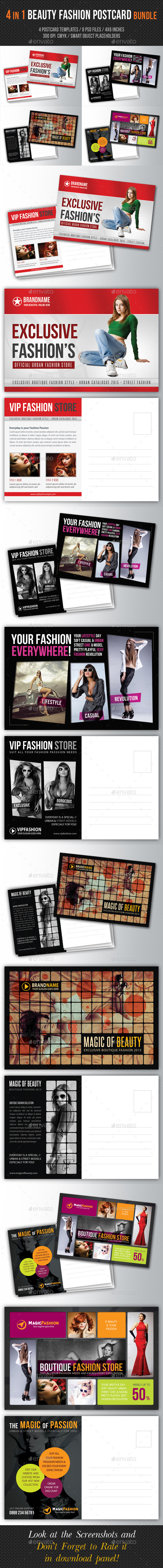 4 in 1 Fashion and Beauty Postcard Template Bundle - Cards & Invites Print Templates