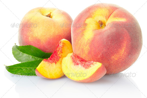 Peach fruit with leaves - Stock Photo - Images