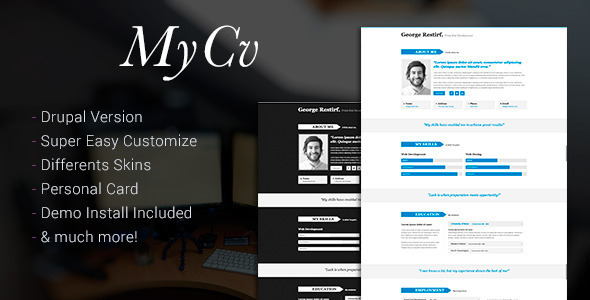 My Cv - Responsive And Retina Drupal theme / CV - Personal Blog / Magazine