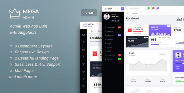 Mega – Bootstrap Admin Web App with AngularJs Powered