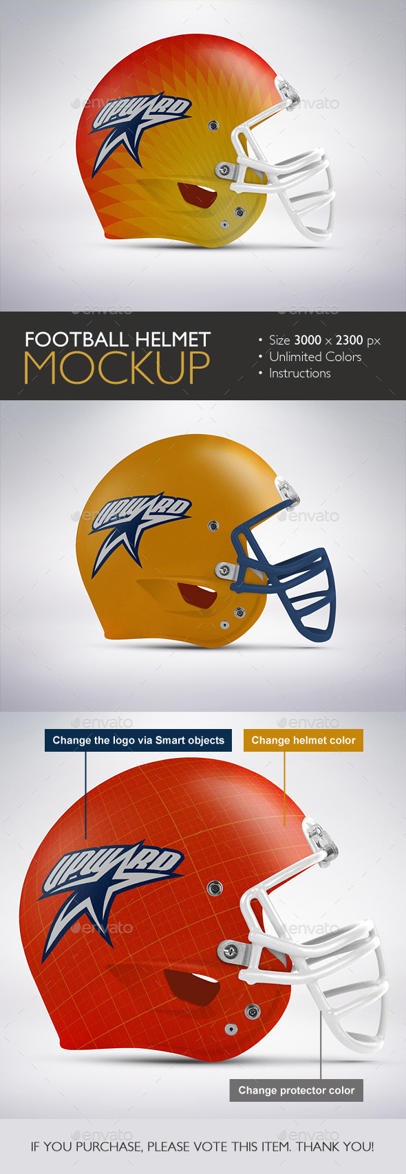 Football Helmet Mockup - Product Mock-Ups Graphics
