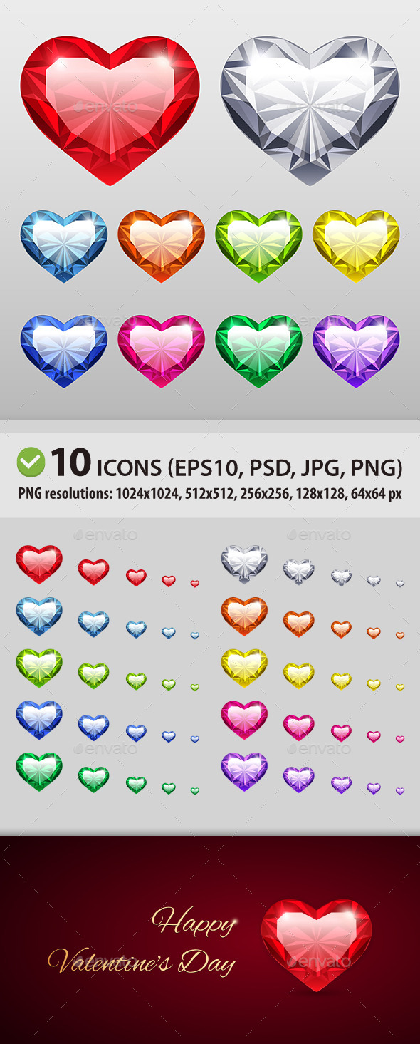 Vector Gem Hearts Set - Man-made Objects Objects