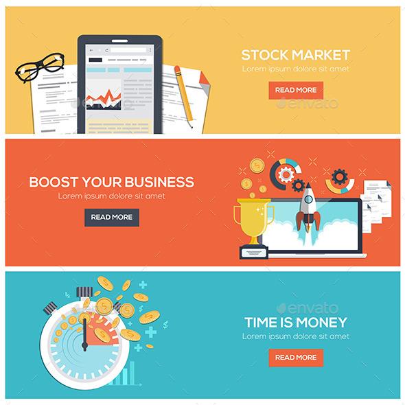 Flat Designed Banners - Web Technology