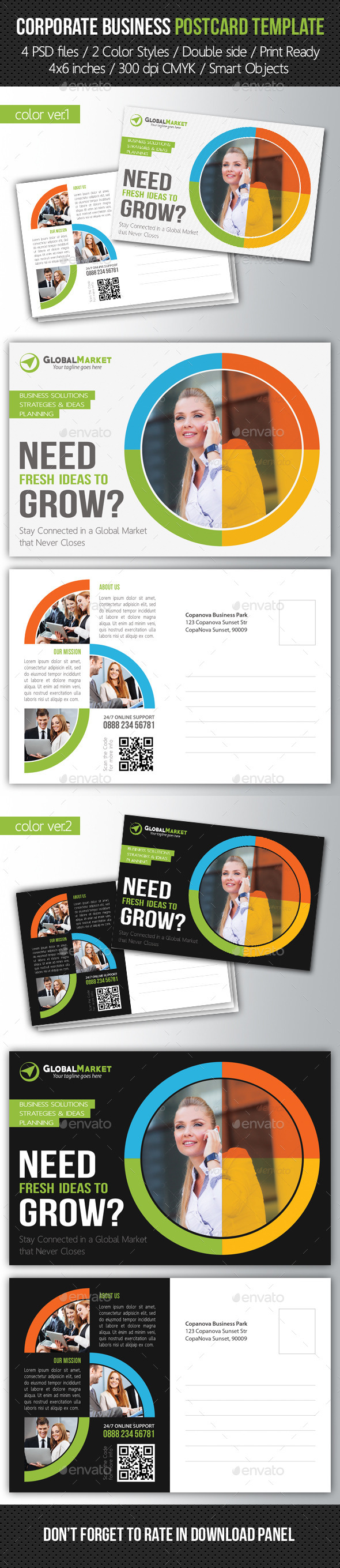 Corporate Business Postcard Template V03 - Cards & Invites Print Templates