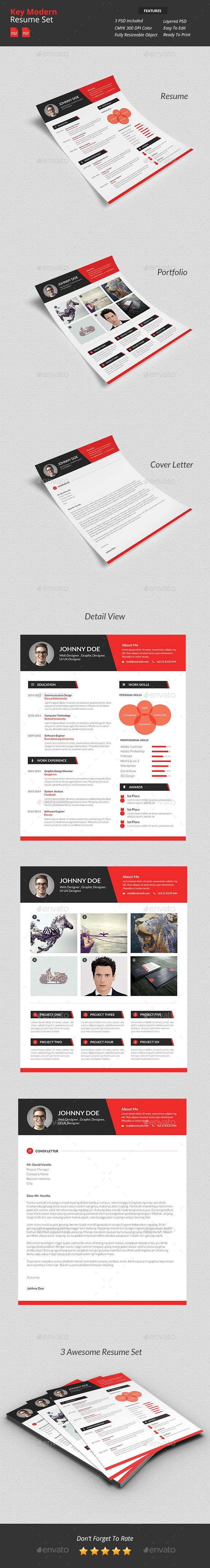 Key - Modern Resume Set - Resumes Stationery