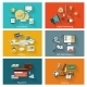 Modern Concept Banners Set in Flat Design - GraphicRiver Item for Sale